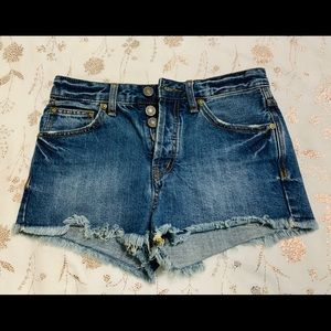 Free People Button Fly Distressed Denim Shorts 25
